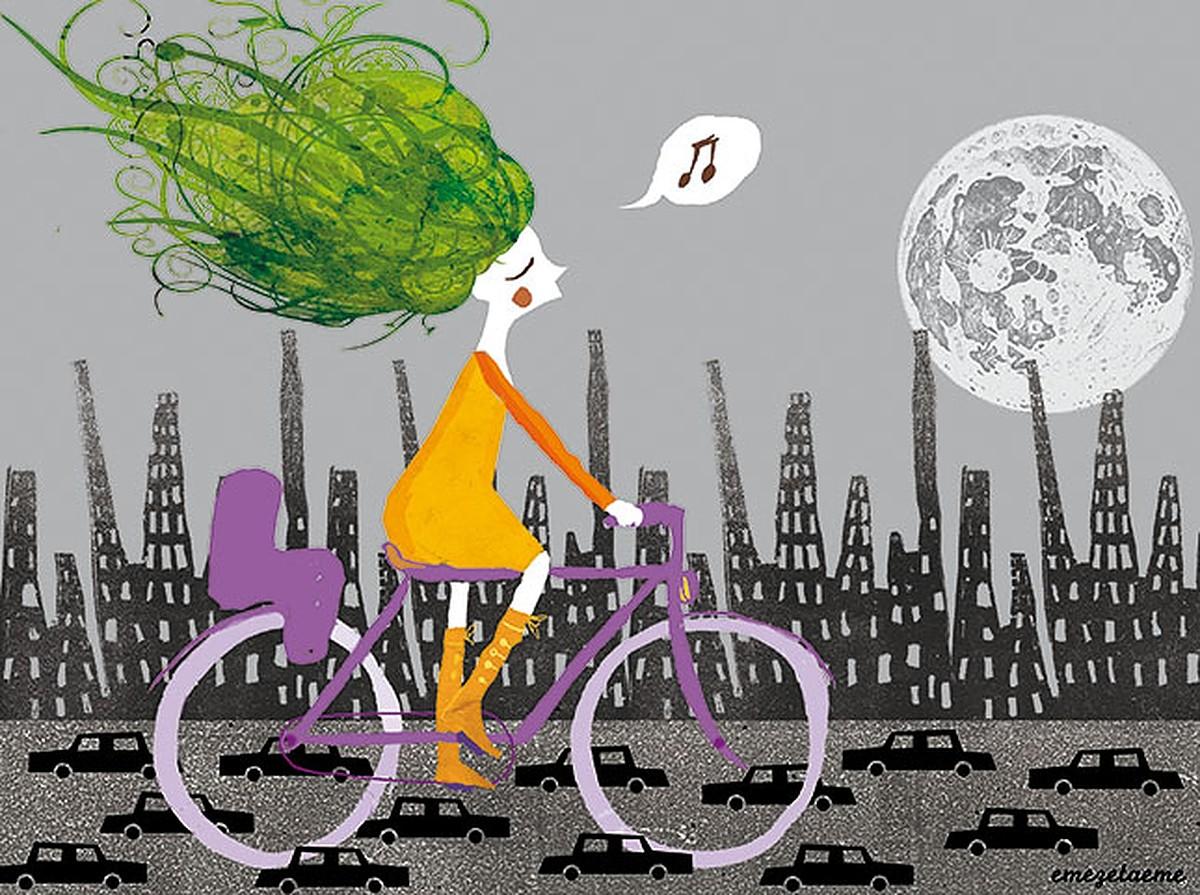 γυναίκα σε ποδήλατο
